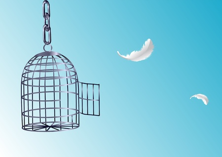 cages: Opened cage  Bird escaping from its cage  Illustration