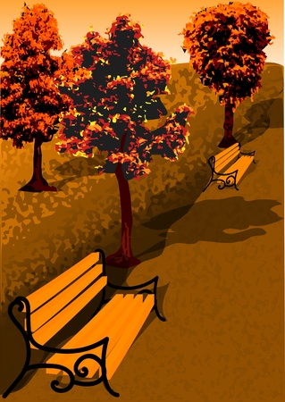 Colorful foliage in the autumn park   Vector