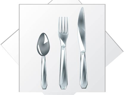 white napkin: spoon, fork, knife on a white napkin Illustration