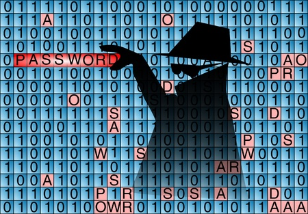 information system: spy steals password from the computer