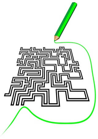 escape plan: maze and a pencil  maze solution writing
