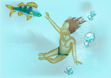 boy and fish under water   Vector