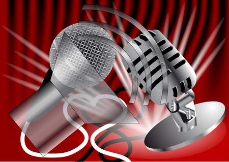 Two microphones on the background of red curtain Stock Vector - 21306808