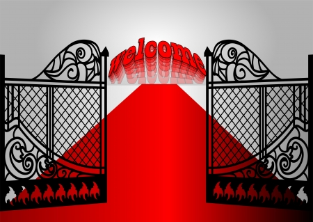 open gate: gate with inscription welcome and red carpet