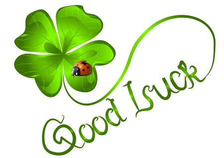 good luck  background with clover and ladybug Imagens - 21657467