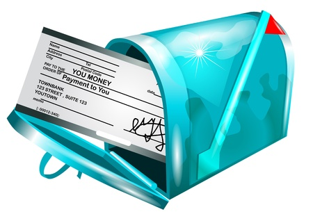 Mailbox  Your money check payment in mailbox Vector