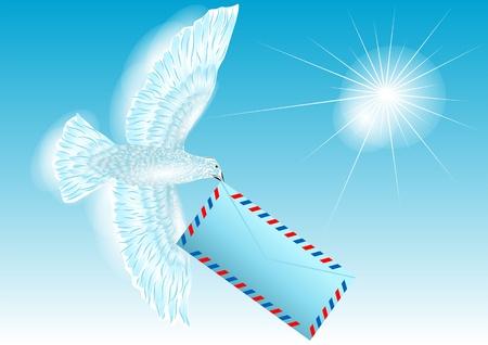 carries: piccione bianco colomba porta letter 10 EPS
