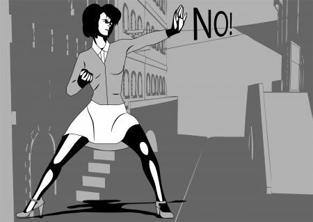 暗い車線の女性の自己防衛します。