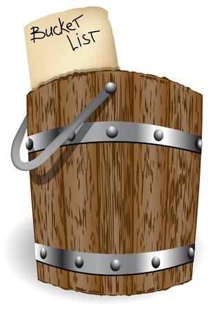 白い背景で隔離のバケット リスト抽象的なバケット