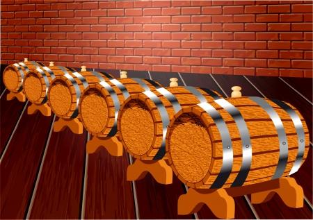 basement: dark cellar with wine barrels  10 EPS Illustration