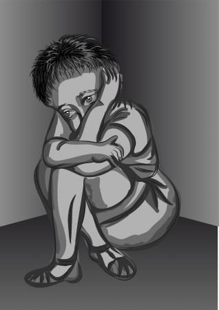気分を害する子供部屋の隅に小さな男の子