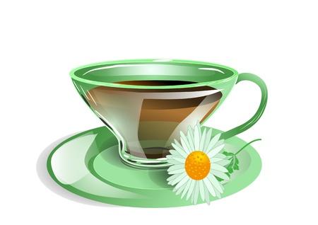 chamomile tea: cup of tea with chamomile  10 EPS