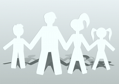 カット紙 4 人家族の人