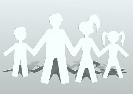 poup�e: personnes coup�es de la famille de papier de quatre