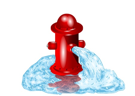 Open fire hydrant letting the water flow out Illustration