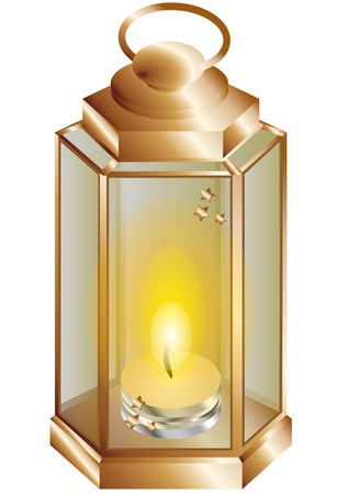 lantern with a candle isolated on white Stock Vector - 21953592