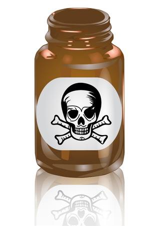 bottle of poison isolated on white background