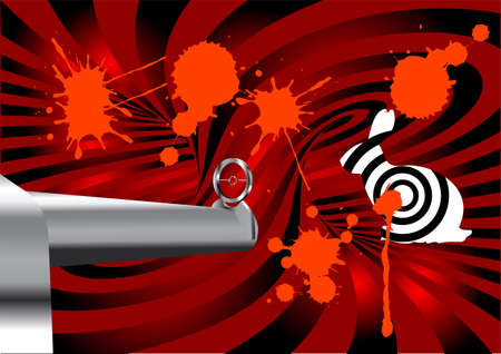 assassin: hunting  abstract background with rifle and target