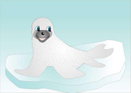 pup: Seal on ice  Vector illustration of a cartoon seal sitting on an iceberg