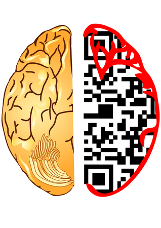 qrcode: brain and qr code  the silhouette of a human head with the QR-Code  Illustration