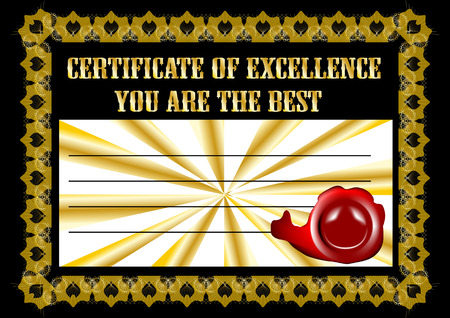 credential: certificate with like and inscription you are the best Illustration