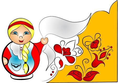 matreshka: decorative background with doll matreshka