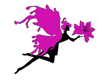 fairy silhouette: Fairy silhouette with a flower