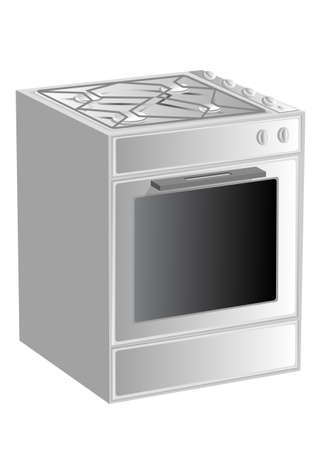 gas cooker: gas-range isolated on white background   Illustration