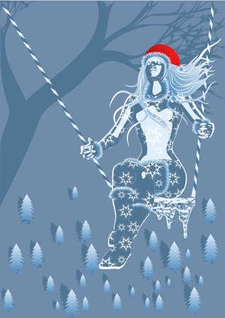fille hiver: fille de l'hiver sur une balan�oire