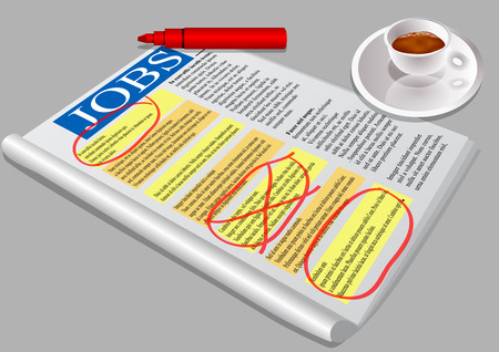 opportunity: Job opportunity  Jobs newspaper and coffee