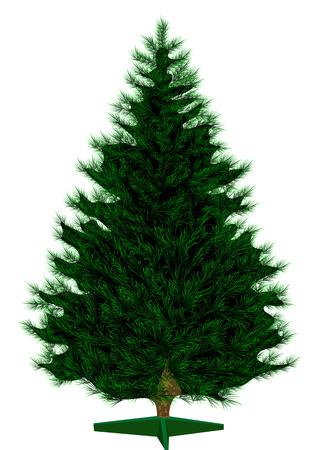 Empty Christmas tree isolated on white  Illustration