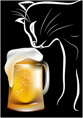 Cat and beer on a black  Vector