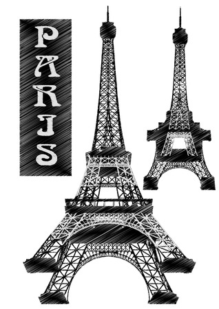Eiffel Tower  Stylized drawing as a ballpoint pen Illustration