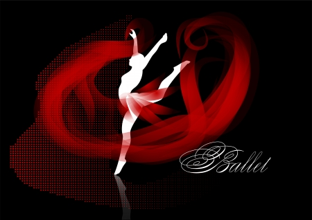 ballet background  woman silhouette with ribbon Stock Vector - 24454641