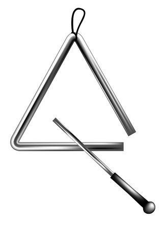 打楽器の三角形の白い背景で隔離  イラスト・ベクター素材