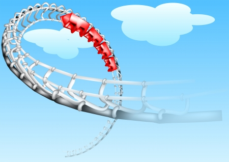roller-coaster on a blue sky