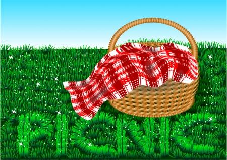 picnic  basket on a green lawn  Illustration
