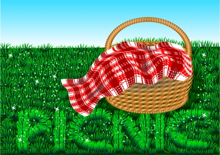 picnic food: picnic  basket on a green lawn  Illustration