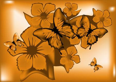 fond abstrait orange: R�sum� fond orange avec le papillon