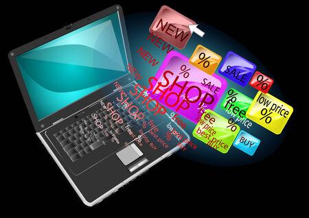 ノート パソコンでオンライン ショッピングの抽象的な背景  イラスト・ベクター素材