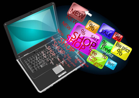 online shopping  abstract background with laptop
