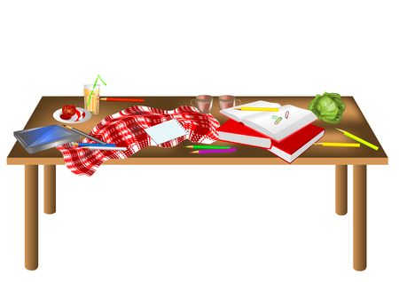 messy table isolated on a white background Vector