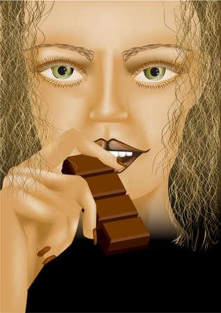indulgence: model eating chocolate