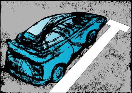parked: abstract blue car parked Illustration