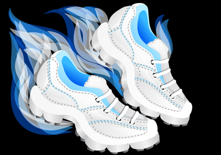 running shoes: running shoes on black background    Illustration