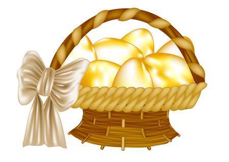 uova d oro: Pasqua cesto con uova d'oro isolato su bianco