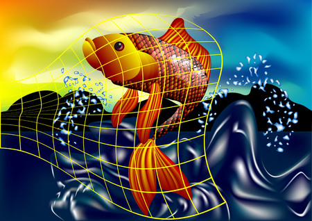 fell: fish catch  goldfish fell into the net