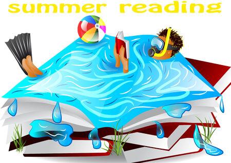 读书的夏天读书在水中