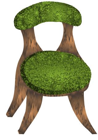 wooden stool: chair  illustration of strange wooden stool