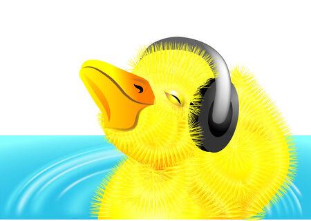 webbed: duckling with headphones on her head